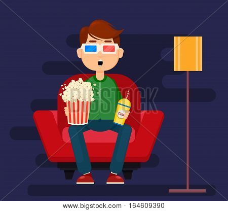 Young man sitting in comfortable armchair at home and watching movie in 3D glasses. Popcorn soda relax. Colorful cartoon vector Illustration flat style.