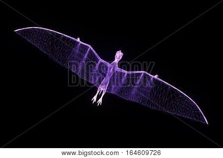 Dinosaur Pteranodon in Hologram Wireframe Style. Nice 3D Rendering poster