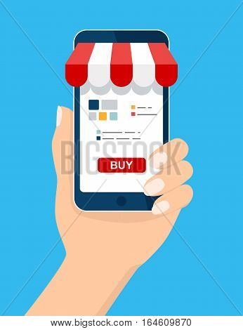 Mobile and online shop concept. Hand holding Smartphone. Digital Marketing, store, Ecommerce shopping concept. Striped awning, phone screen buy. Vector cartoon flat illustration for web, mobile app
