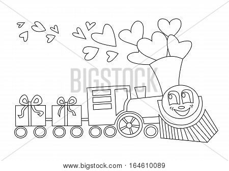 Big locomotive with gifts like wagons and hearts