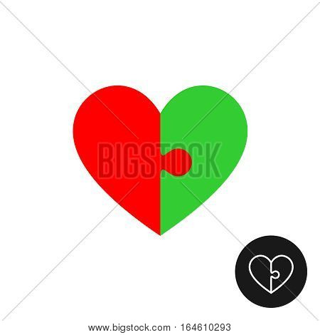 Heart puzzle logo with two halfs of red and green color. With outline inverted version.
