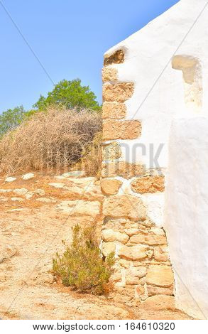 Fragment wall of Church Agios Georgios Sarantaris in Hersonissos on Crete island Greece.