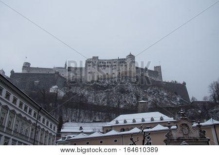 The view of Hohensalzburg Castle in winter time. Salzburg. Austria.