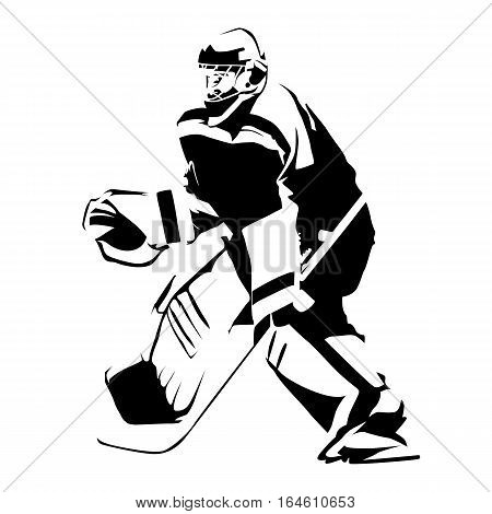 Ice hockey goalie abstract vector silhouette, winter team sport