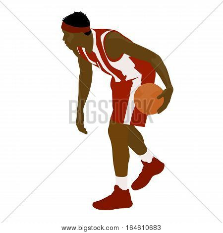 Basketball player standing and dribbling the ball vector silhouette