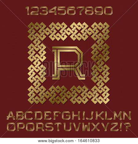 Golden angular letters and numbers of two stripes. Monogram in decorative square frame. Fashion presentable font kit for logo design.