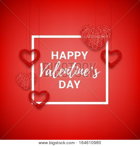 Happy Valentine's Day greeting card. Beautiful background with hearts from threads. Vector illustration.
