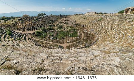 Aydin, Turkey - October 9, 2015: Stadium inside the ancient ruins of Aphrodisias in Geyre, Aydin