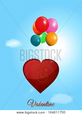 Red Valentine Heart Flying with Balloons Over Blue Sunny Sky with Lens Flares and Text