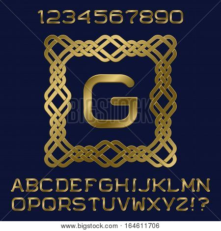 Golden gradient letters and numbers with initial monogram in decorative square frame. Stylish font kit for logo design.