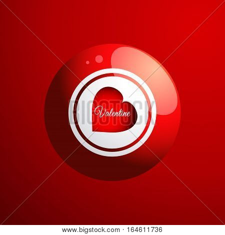3D Illustration of a Red Bingo Ball with Red Heart and Valentine Text Over Red Background
