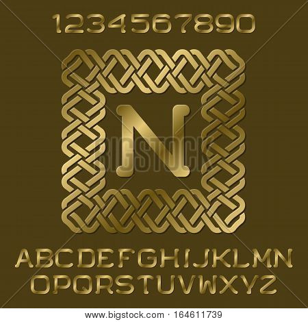 Golden polished letters and numbers with initial monogram in decorative square frame. Beautiful presentable font kit for logo design.