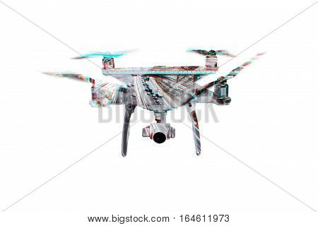 Double exposure. Hovering drone taking pictures of highway with cars and trucks. Aerial view. Isolated.
