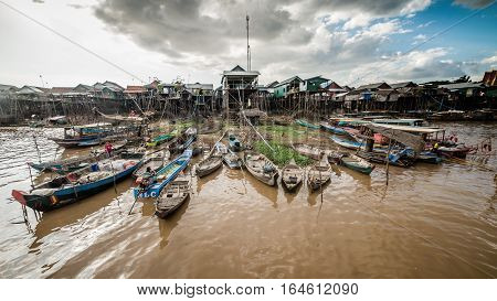 TONLE SAP LAKE, CAMBODIA , December 07, 2015: - Firsherman at Kompong Khleang, a village at Tonle Sap Lake on July 29, 2016. The lake is the largest in southeast Asia.