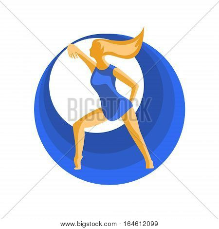 The girl with the help of dance creates harmony. Vector illustration