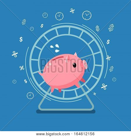 Concept of big money. Piggy bank running in a hamster wheel. Flat design, vector illustration.