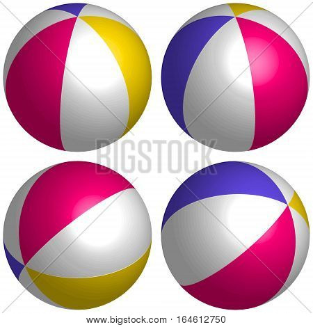 set 3D beach ball isometric, three dimensional of ball games on the beach set isometric vector multicolored 3d ball