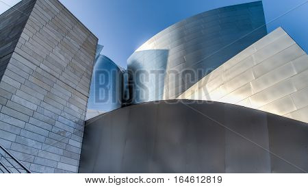 Los Angeles, CA, USA - August 25, 2014: Frank Gehry's modern architectural design of the Walt Disney Concert Center