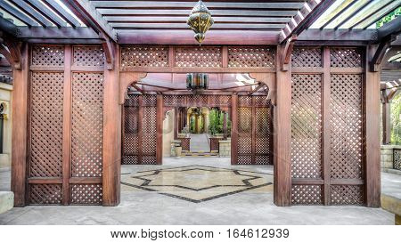 Dubai, UAE - May 31, 2013: A gate in Jumeirah Beach Hotel, Dubai
