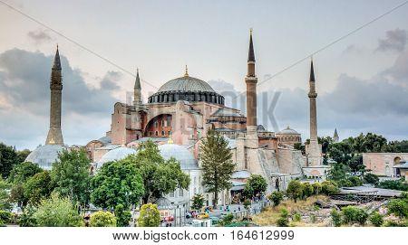 Istanbul, Turkey - 4 March, 2013: View of HagiaSophia (Ayasofya), historic centre of Istanbul UNESCO World Heritage List, 1985, Turkey, 6th century.