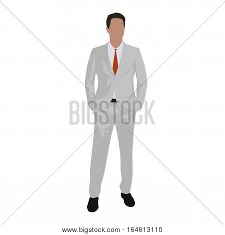 Man in white suit standing with hands in pockets isolated vector illustration