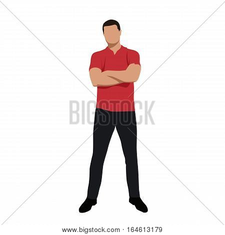 Standing young man in red polo shirt with folded arms front view vector silhouette