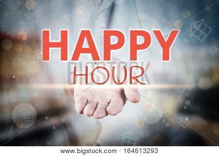 Man Hand Holding Happy Hour Text On Blurry Home Icon Property Background.