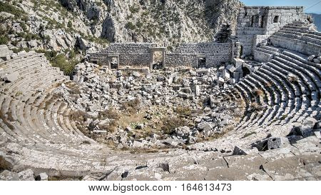 Antalya, Turkey - October 24, 203: Top view of amphitheater of Termessos Antique City in Antalya.