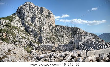 Antalya, Turkey - October 24, 203: Top view of amphitheater of Termessos Antique City in Antalya, on bright blue sky background