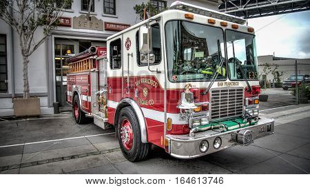 San Francisco, CA, USA - August 3, 2014:  San Francisco Fire Truck