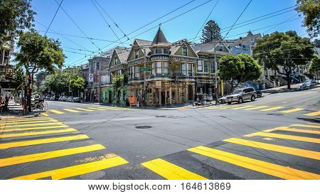 San Francisco, CA, USA - August 19, 2014:  Haight Street in Haight-Ashbury San Francisco.Haight-Ashbury is one of the most famous neighborhoods in San Francisco for its role as a center of 1960s hippie movement