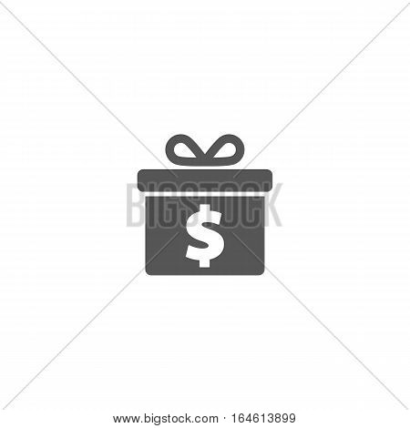 One dollar gift icon isolated on a white background.