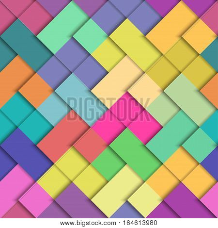 Seamless vector colorful bright pattern. Paper squares of different colors lying on each other. Corporate background
