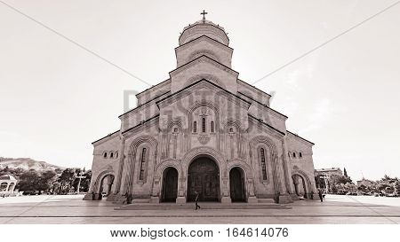 Tbilisi, Georgia - August 6, 2015: The Holy Trinity Cathedral of Tbilisi, Georgia