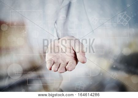 Man Hand Holding For Virtual Home Property Background With Vintage Two Tone Blue, Orange.