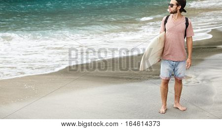 Active Recreation And Healthy Lifestyle Concept. Full Length Outdoor Portrait Of Barefooted Tourist