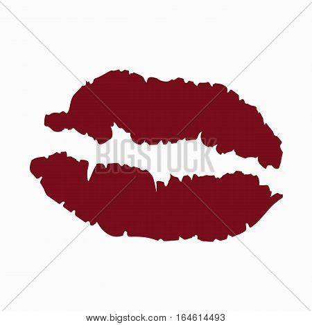colored icon kiss mark red lipstick female lips on a white background. the template for the festival of Valentine's day or decoration for recognition or wedding. vector illustration