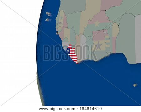 Liberia With National Flag