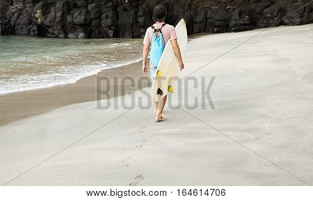 Disappointed Surfer With Backpack Leaving Beach, Having No Chance To Ride Waves Because Of Inappropr