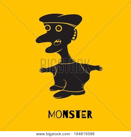 Silhouette monsters standing with his mouth open. Eyes intently watching. Vector illustration