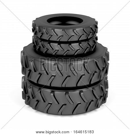 Front and rear tractor tires on white background, 3D illustration