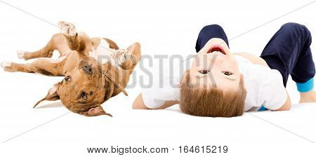 Portrait of a cheerful boy and pit bull puppy, lying on its back isolated on white background