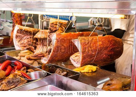 Chinese Roast Pork Or Siu Yuk In Shop For Sale