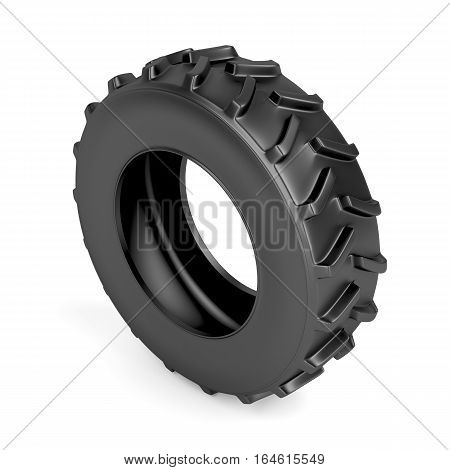 Tractor tire on white background, 3D illustration
