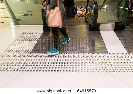 Tactile Paving Path For The Blind Entrance Exit Of Escalator