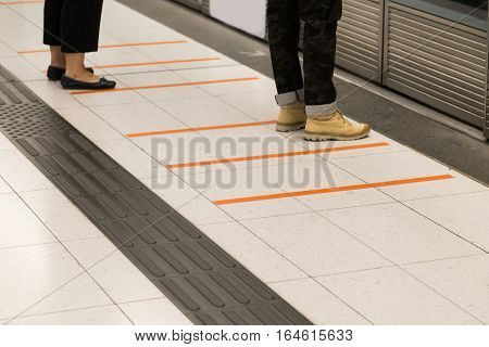 Tactile Paving Foot Path For The Blind Subway Station