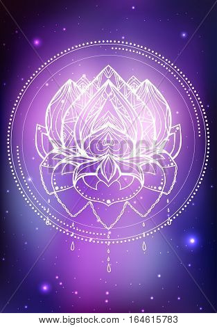 Vector neon illustration of lotus with boho pattern background space with stars and nebula. Spiritual magical illustration for your creativity
