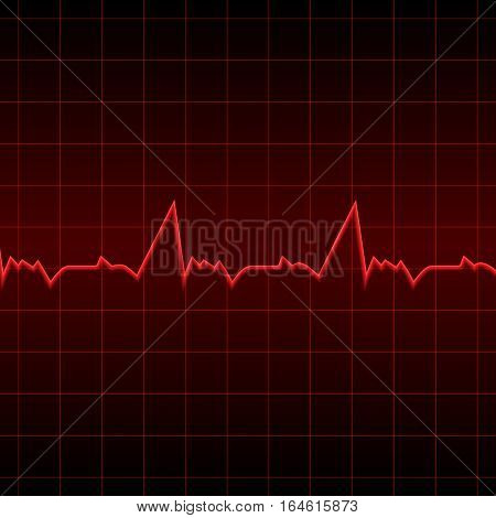 Vector illustration. Red electrocardiogram on a black background. Designed for medical banners posters invitations.