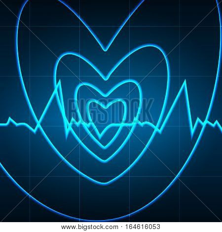 Vector illustration. Heart of the spiral in the background of the cardiogram. Design for business card banner brochure medical clinics.