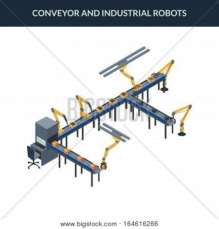vector illustration. Automatic conveyor line with industrial robots. Packaging line with boxes. isometric. 3D